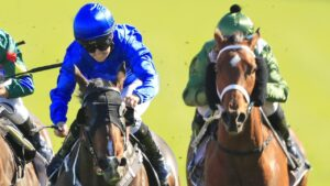 Flit (blue) and Subpeonaed (green) will line up in the TAB Classic at Morphettville on Saturday. Photo: Mark Evans/Getty Images.