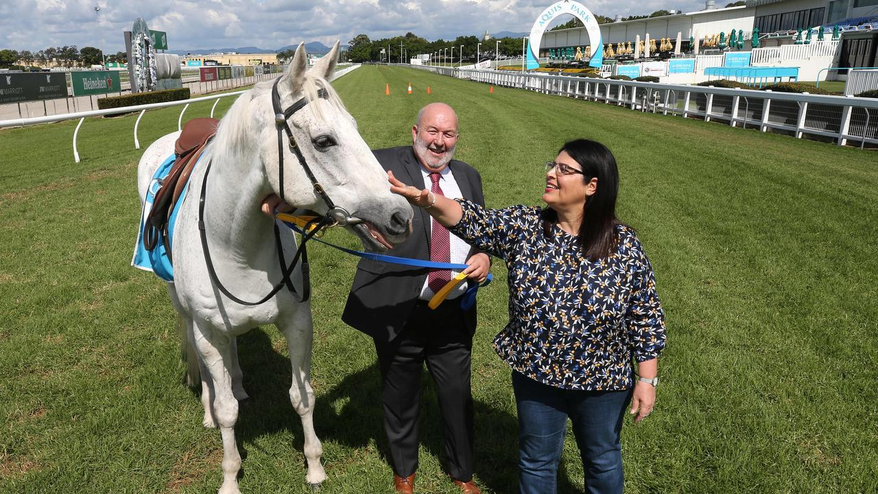 Racing Minister Grace Grace and Gold Coast Turf Club boss Steve Lines were on the track for Monday's announcement. Picture Glenn Hampson.