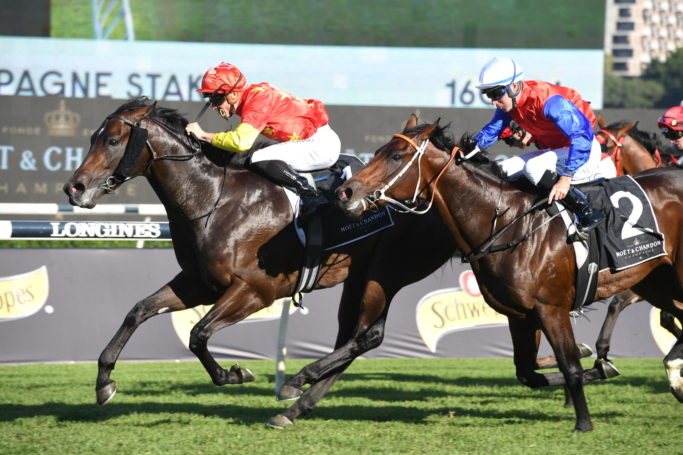 Captivant holds of Hilal in the Champagne Stakes.