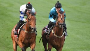 Olmedo (right) gallops with Kolding at The Valley last year. Picture: Racing Photos via Getty Images