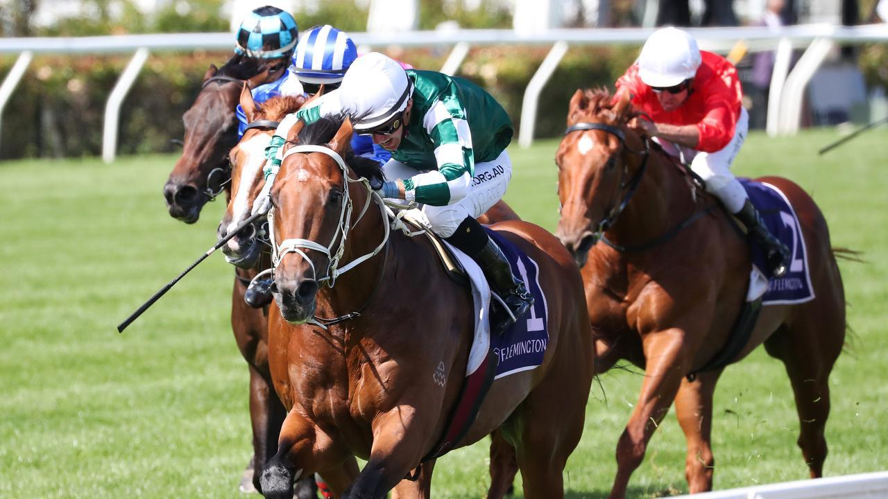 Tagaloa ridden by Luke Currie wins the CS Hayes Stakes at Flemington. Picture: Racing Photos