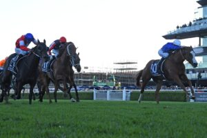 Cascadian (white blaze) wins the Doncaster Mile.