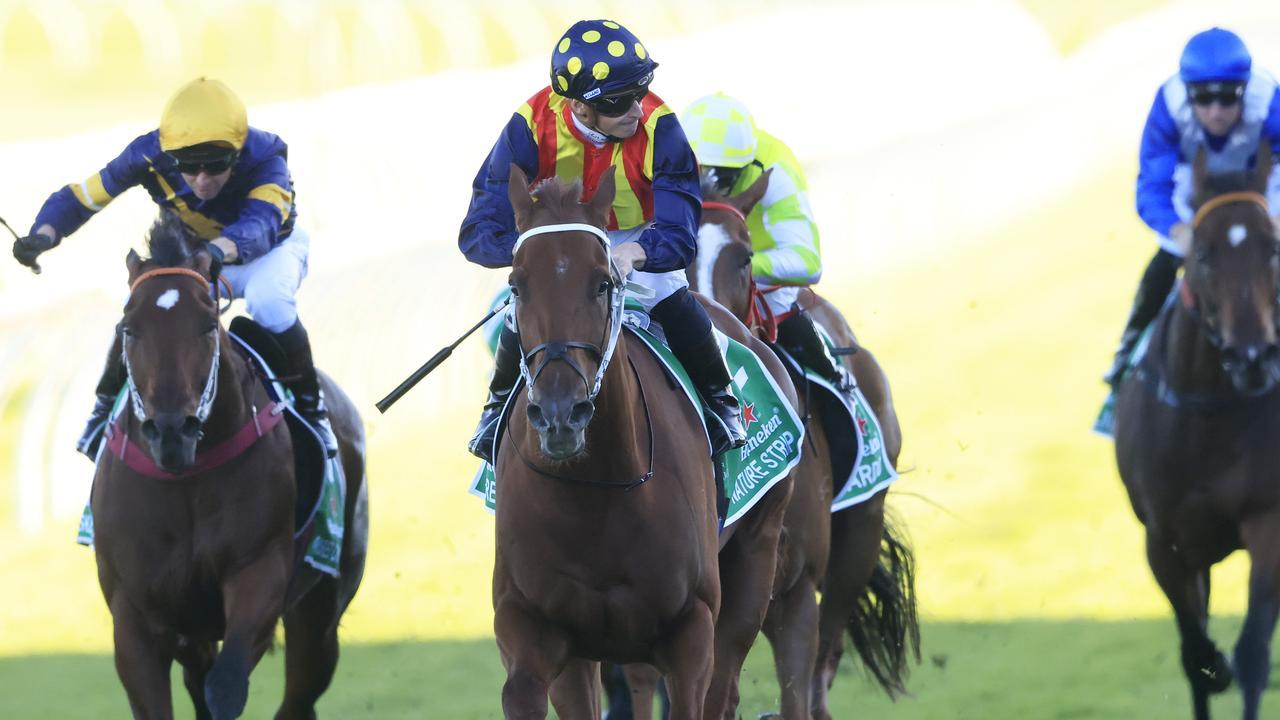 Nature Strip powered to victory in the TJ Smith Stakes. Picture: Getty Images