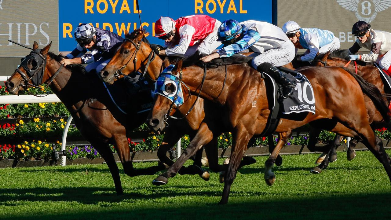 Explosive Jack (right) edges out Young Werther (left) and Lion's Roar in the ATC Derby. Picture: Getty Images
