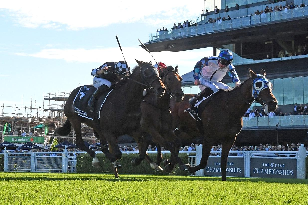 Explosive Jack (white) prevailed in a thrilling finish to the Australian Derby.