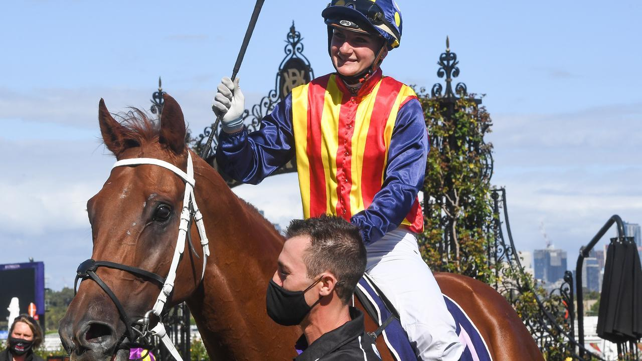 Jamie Kah returning to scale aboard Nature Strip after winning the Group 1 Lightning Stakes in February. Picture: Racing Photos via Getty Images