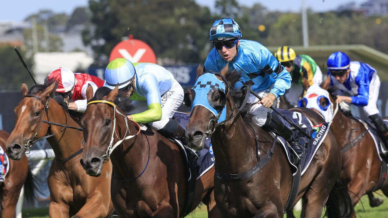 Tommy Berry wins the Rosehill Guineas on Mo'unga. Photo: Mark Evans/Getty Images