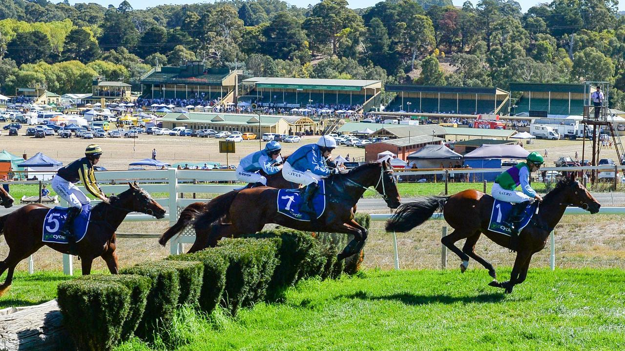 Spying on You and Tommy Ryan on the way to victory in the Great Eastern Steeplechase at Oakbank. Picture: Brenton Edwards