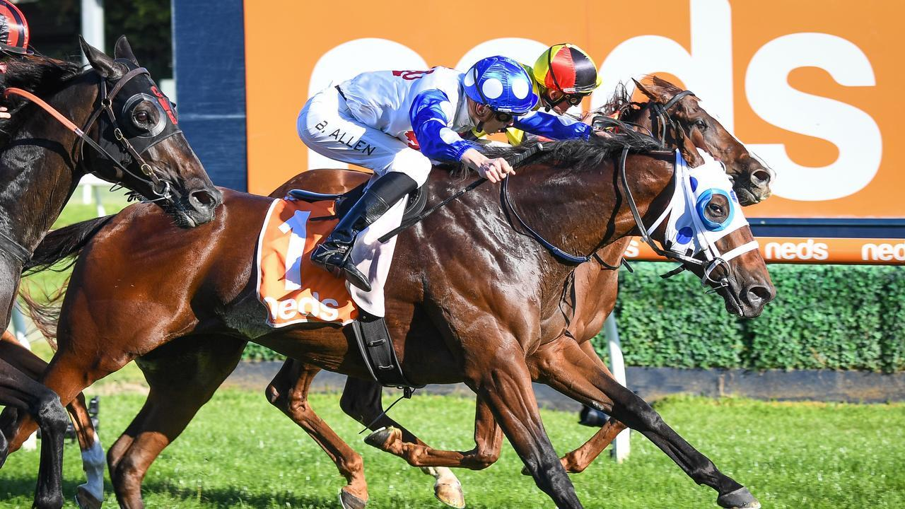 Mr Quickie lunges on the line to win the Victoria Handicap. Picture: Racing Photos via Getty Images