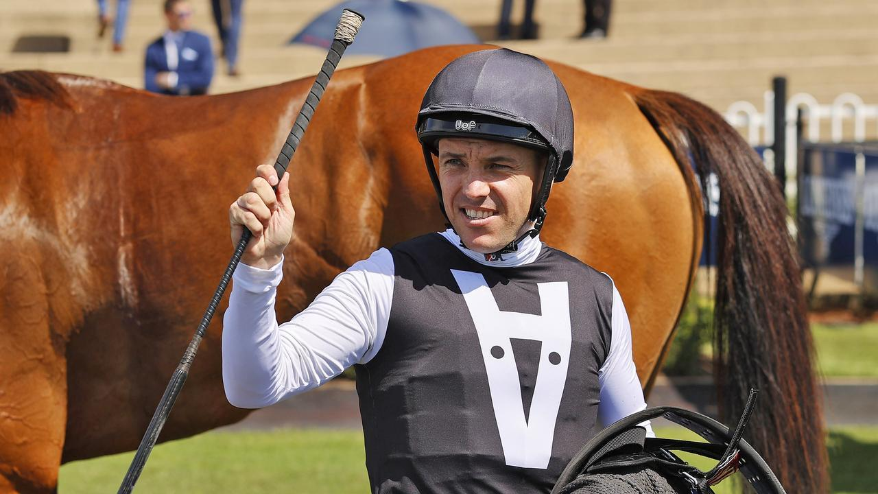 Ryan Maloney after winning on Isotope on Golden Slipper Day at Rosehill. Pic: Getty Images.
