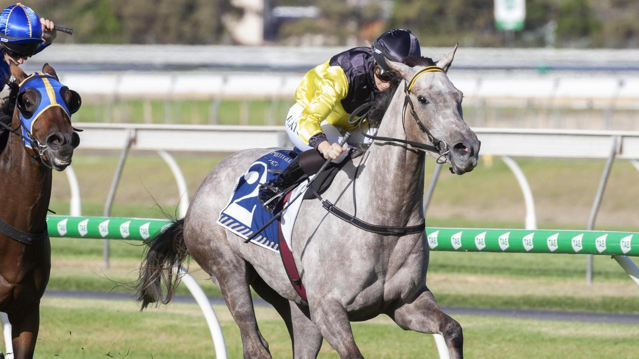 Jess Eaton wins the Clare Lindop Stakes on Ecumenical yesterday at Morphettville. Picture: Atkins Photography