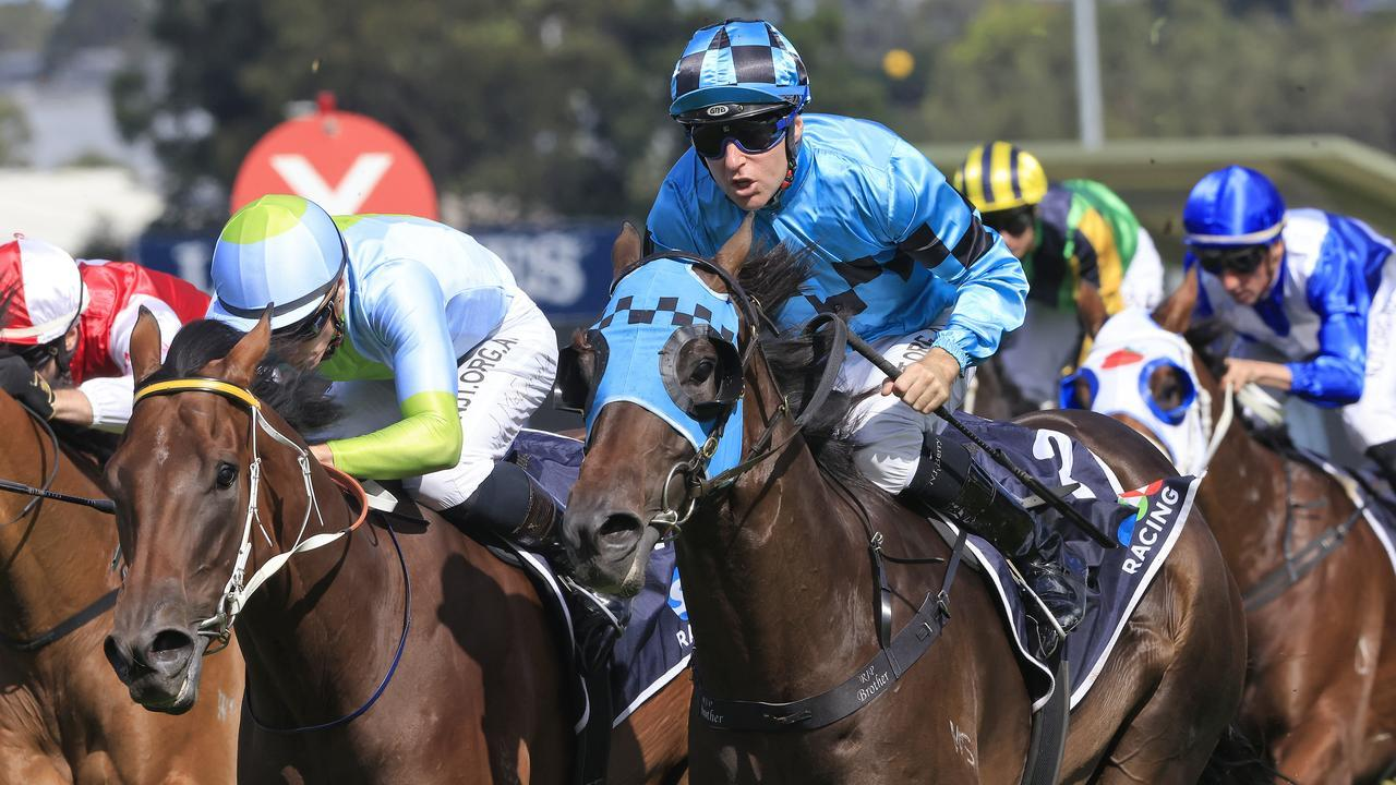 Mo'unga and Tommy Berry finish powerful to win the Rosehill Guineas. Picture: Getty Images