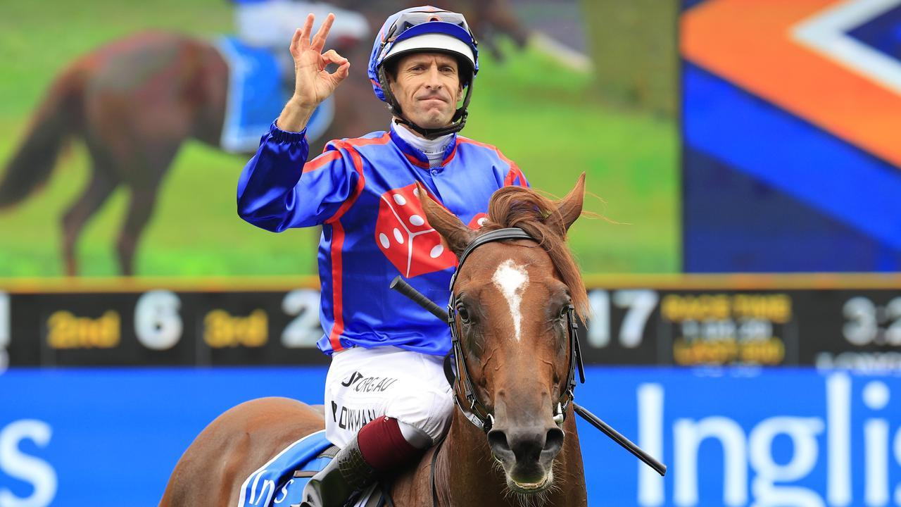 Hugh Bowman rides Golden Slipper favourite Profiteer on Saturday. Picture: Getty Images