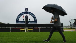 The Golden Slipper meeting was postponed because of the rain. Picture: Sam Ruttyn