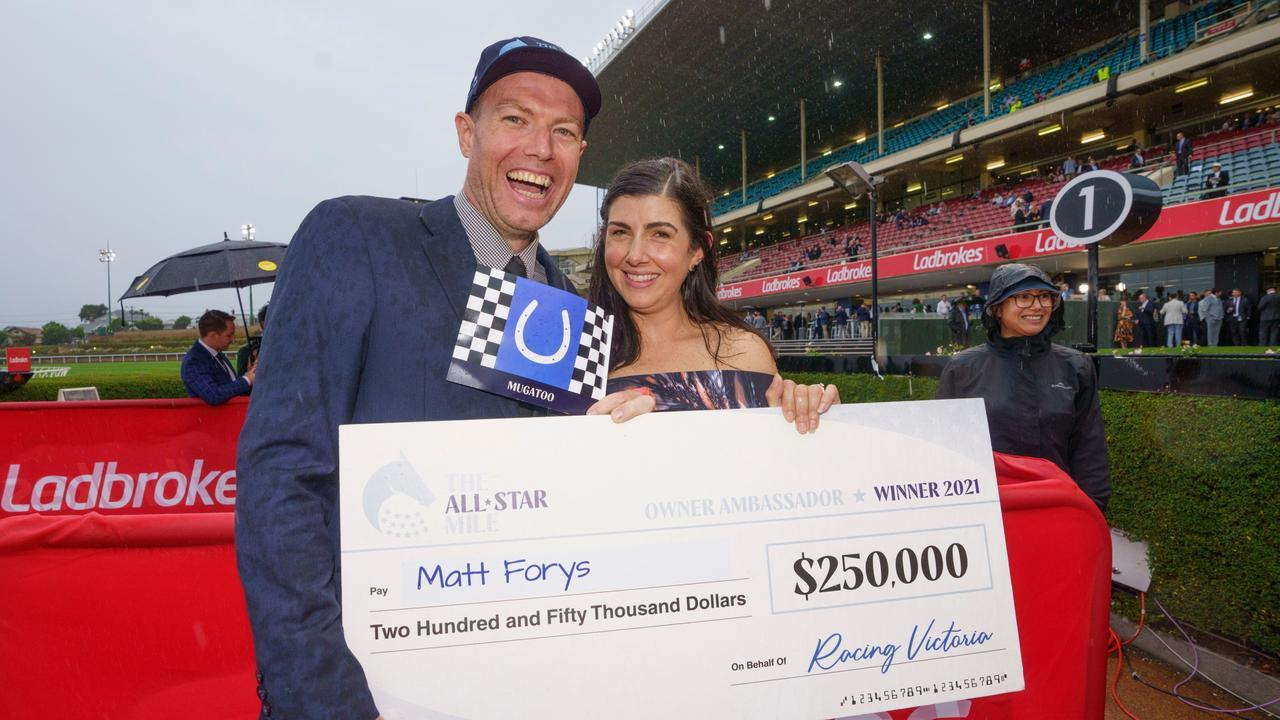 Mugatoo owner ambassador Matt Forys and wife Amanda with their $250