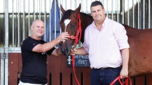 Rugby league legend Alfie Langer and trainer Chris Anderson with Gemelon Bolt ahead of the $500
