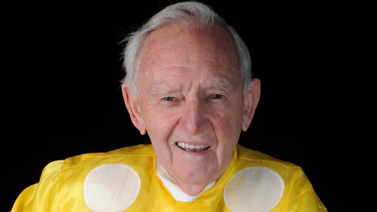 Triple Melbourne Cup-winning jockey Jim Johnson in the yellow and white silks he wore on Rain Lover in 1968 and 1969.