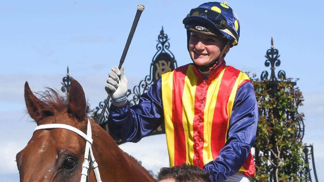 Jamie Kah scored an emotional win on Nature Strip in the Black Caviar Lightning. Picture: Getty Images