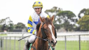 Noel Callow returns to the mounting yard on Especial Courage after winning at Werribee. Picture: Getty Images