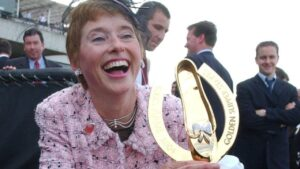 Trainer Gai Waterhouse with the famous trophy after Dance Hero won the 2004 edition of the Golden Slipper.