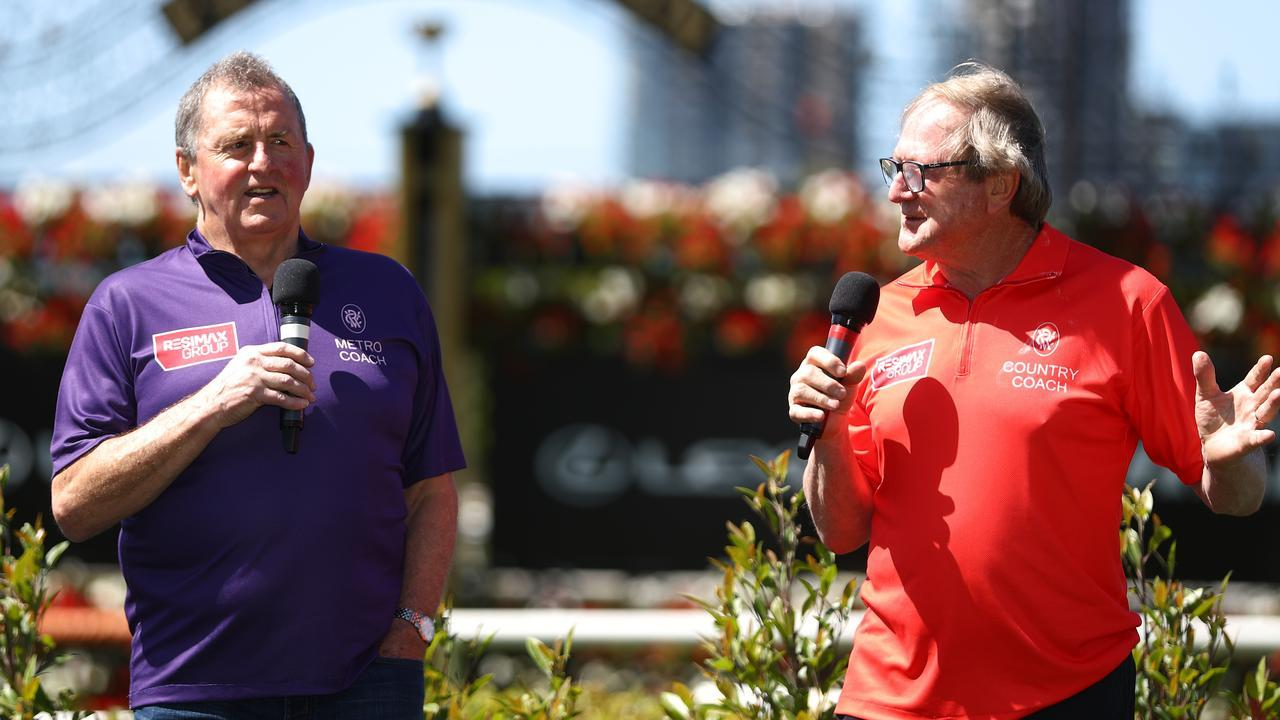 Rapid Racing coaches Denis Pagan (city) and Kevin Sheedy (country) will square off at Flemington on Friday. Picture: Getty Images
