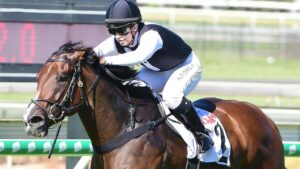 Georgie Cartwright produced a gem of a ride on Bleu Zebra at Doomben. Picture: Trackside Photography