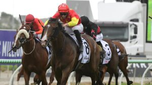 James McDonald rides Aim to victory in the Magic Millions Guineas. Picture: Trackside Photography