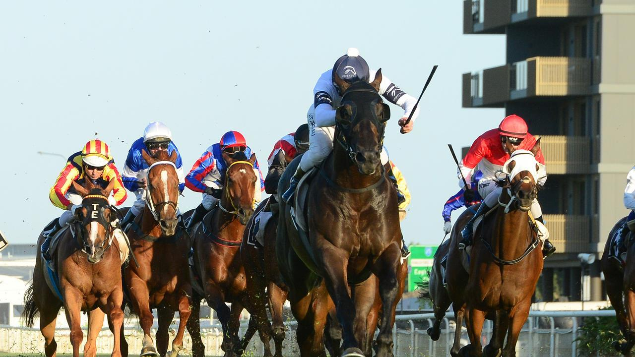 Jonker races clear of his rivals to win the Keith Noud Quality at Doomben. Picture: Trackside Photography