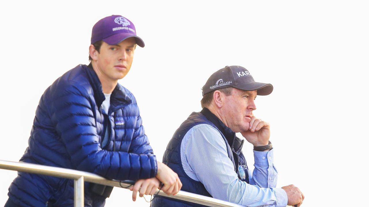 John O'Shea (R) looks on during a Randwick trackwork session. Photo: Mark Evans/Getty Images