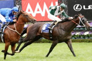 Exceedance wins the 2019 Coolmore Stud Stakes.