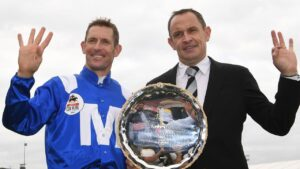 Jockey Hugh Bowman and trainer Chris Waller combined for four Cox Plates with Winx. Picture: AAP