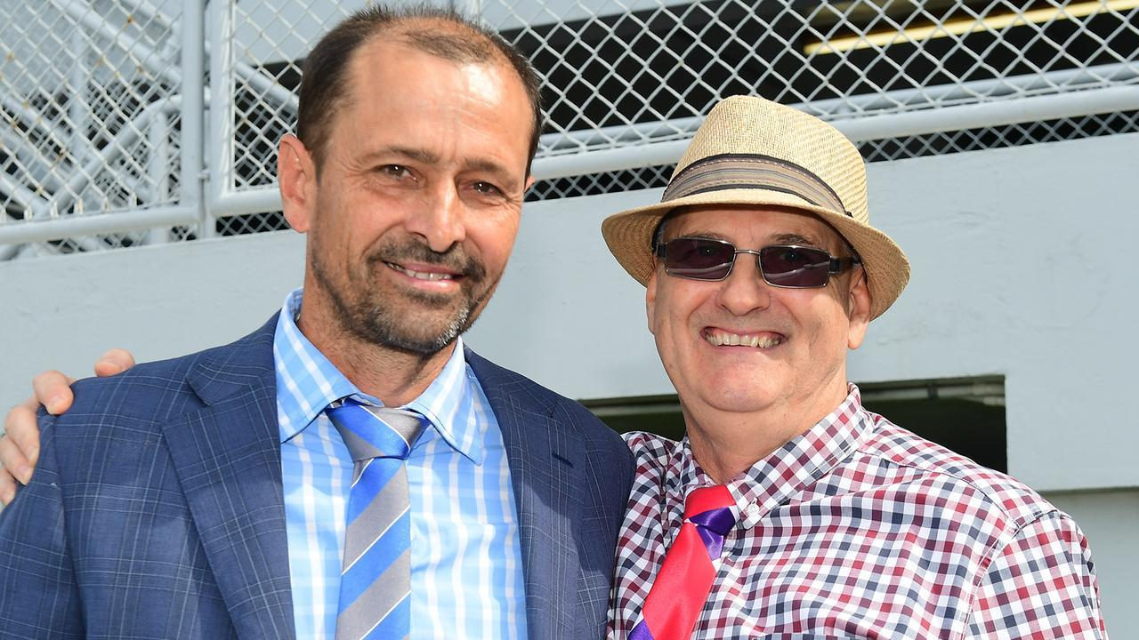 Trainer Lindsay Gough and Goodonja Sonja's breeder Michael Bliss had reason to be happy at Doomben on Saturday. Picture: Trackside Photography