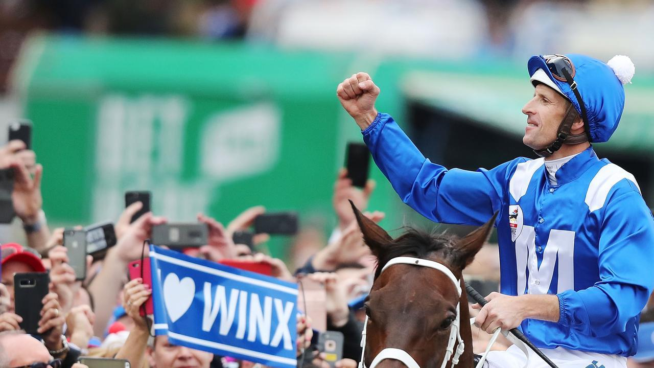 Hugh Bowman won four Cox Plates on Winx but he is set to miss the 2020 Cox Plate through suspension. Picture: Getty Images