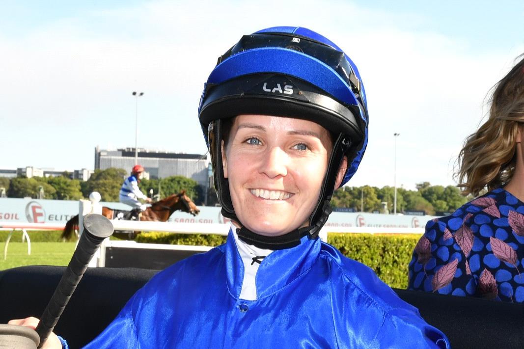 Rachel King after winning aboard Flit on Saturday.