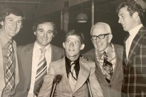 Gary Wilson with four of Australia's greatest sporting broadcasters  – from left