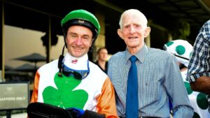 Ron Goltz and Barry Squair after Love You Lucy won at Eagle Farm last December. Picture: Trackside Photography