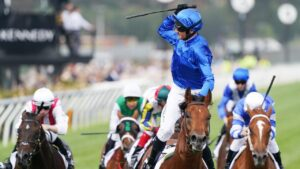 Glenn Boss wins the Newmarket at Flemington on Bivouac. Picture: AAP Image/Michael Dodge