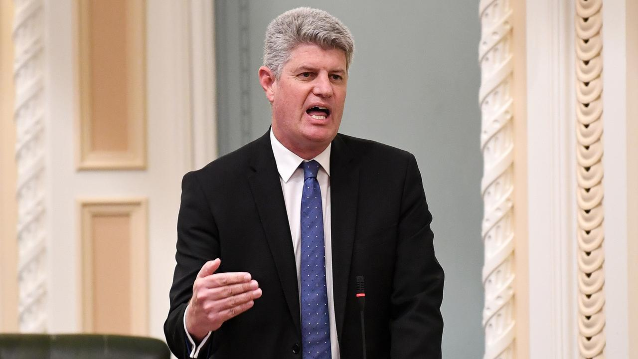 Queensland Racing Minister Stirling Hinchliffe speaks during Question Time at Parliament House in Brisbane. Picture: NCA NewsWire/Dan Peled