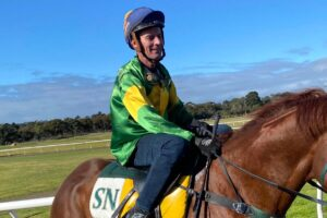 Comeback jockey Cameron Quilty rode in jumpouts for Shane Nichols at Mornington on Wednesday.
