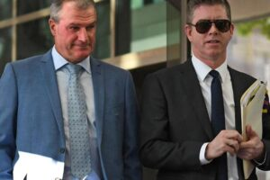 Darren Weir (left) with his legal counsel Patrick Wheelahan at Melbourne Magistrates Court.