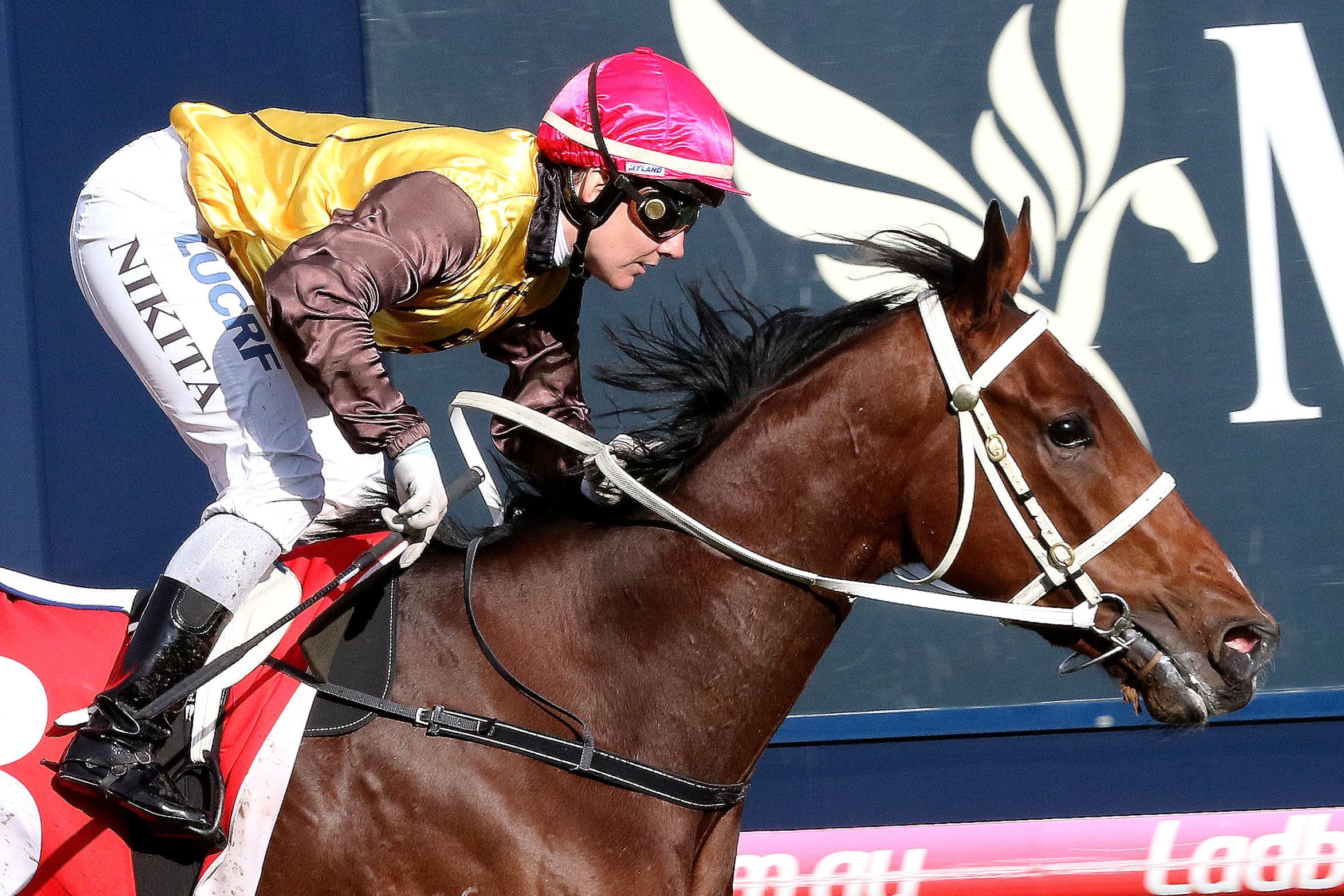 Nikita Beriman winning aboard Tavirun.