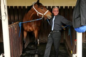 Trainer Mick Burles and The Cleaner on Cox Plate Day in 2014.