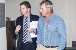 Darren Weir arrives at the RAD Board with his legal counsel Patrick Wheelahan.