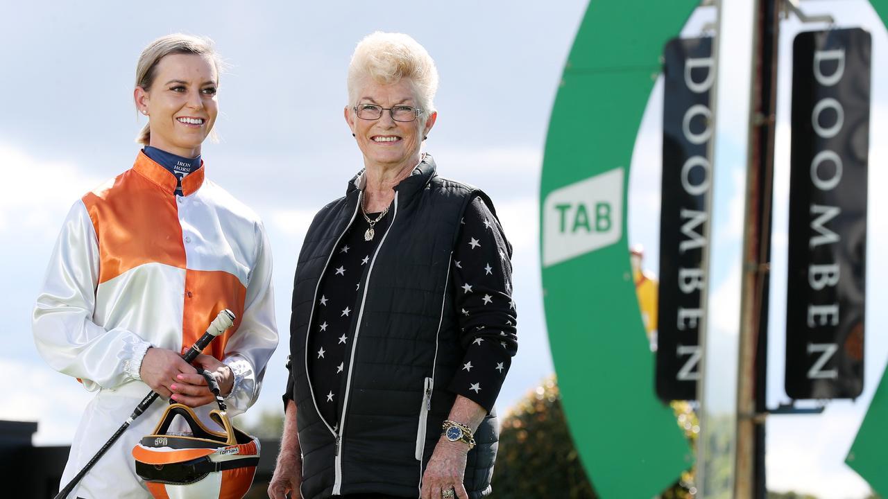 Apprentice Wendy Peel with trailblazing female jockey Pam O'Neill at Doomben Racecourse. Picture: Tara Croser
