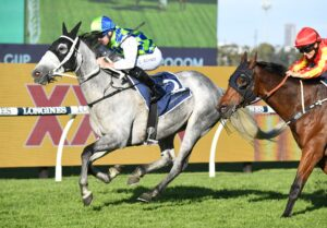 Polly Grey takes out the Lord Mayors Cup at Rosehill on Saturday. Photo: Steve Hart.