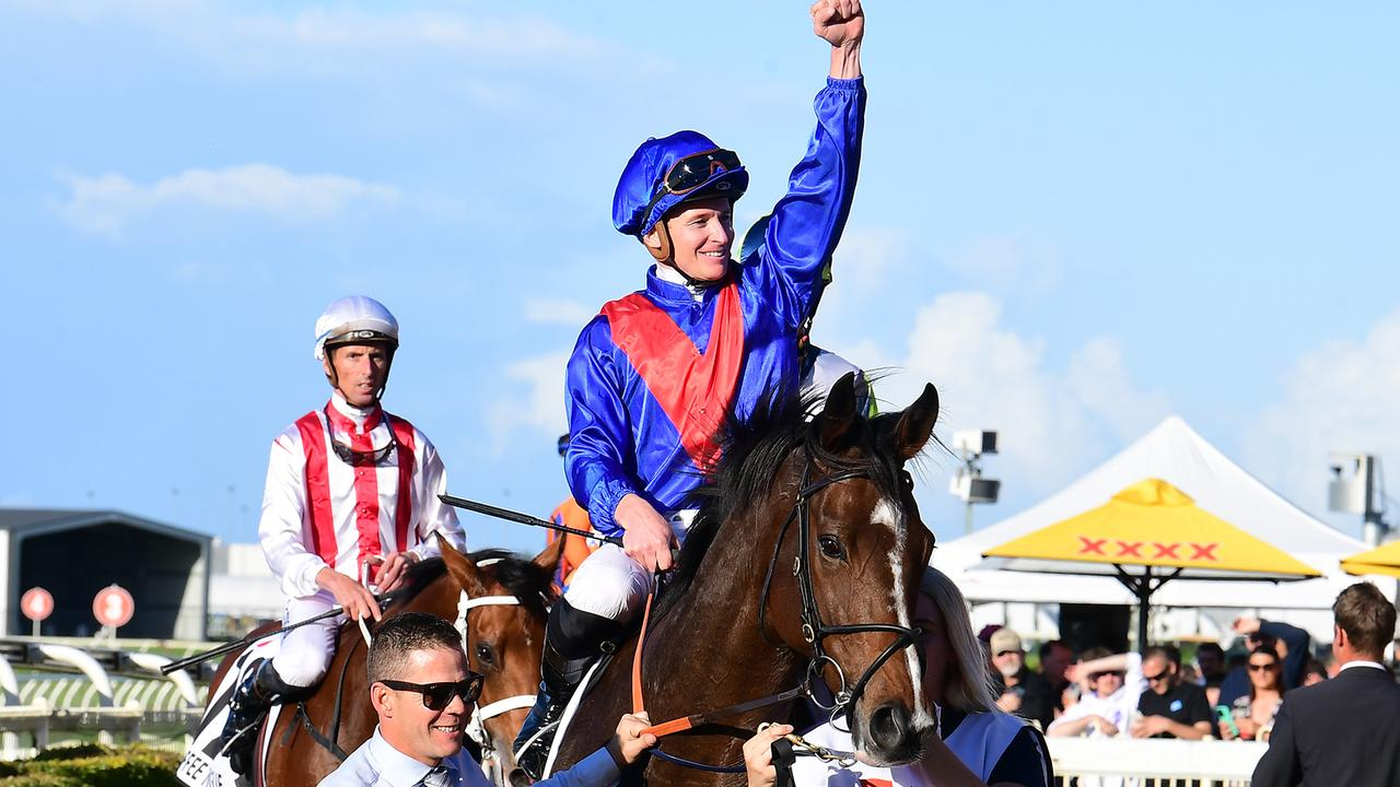 Zaaki, ridden by James McDonald, dominated the Doomben Cup after winning by seven lengths. Picture: Grant Peters/Trackside Photography