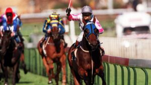 Champion racehorse Might And Power and jockey Jim Cassidy combine for their most famous victory at the Caulfield, the 1997 Cup.