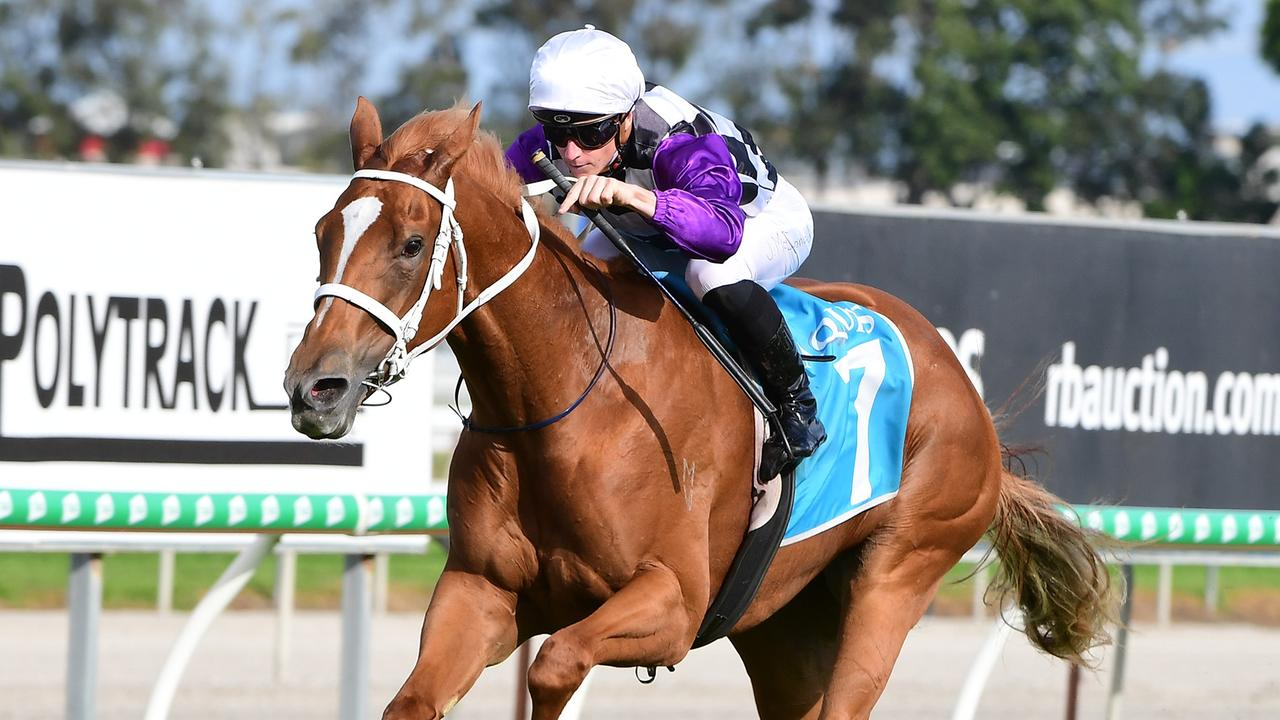 James McDonald winning the Gold Coast Bracelet aboard Grace And Harmony. Picture: Trackside Photography