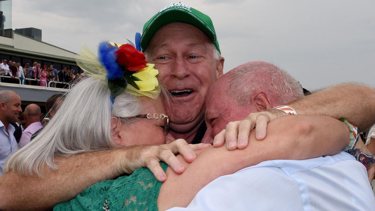 Allan Endresz (centre) after Alligator Blood won the 2020 Gold Coast Magic Millions 3YO Guineas. Picture: Steve Holland