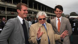 Edward Cummings with grandfather Bart Cummings and brother James at Royal Randwick in 2012. Picture: AAP